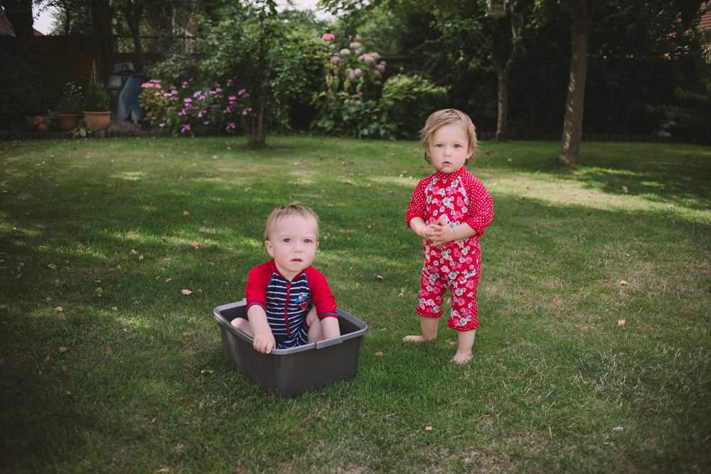 Bristol twins playing in the garden