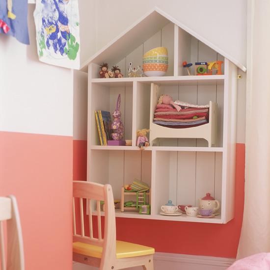 Dolls house storage shelving