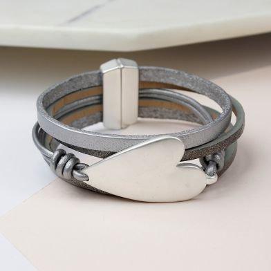 Grey leather silver plated bracelet