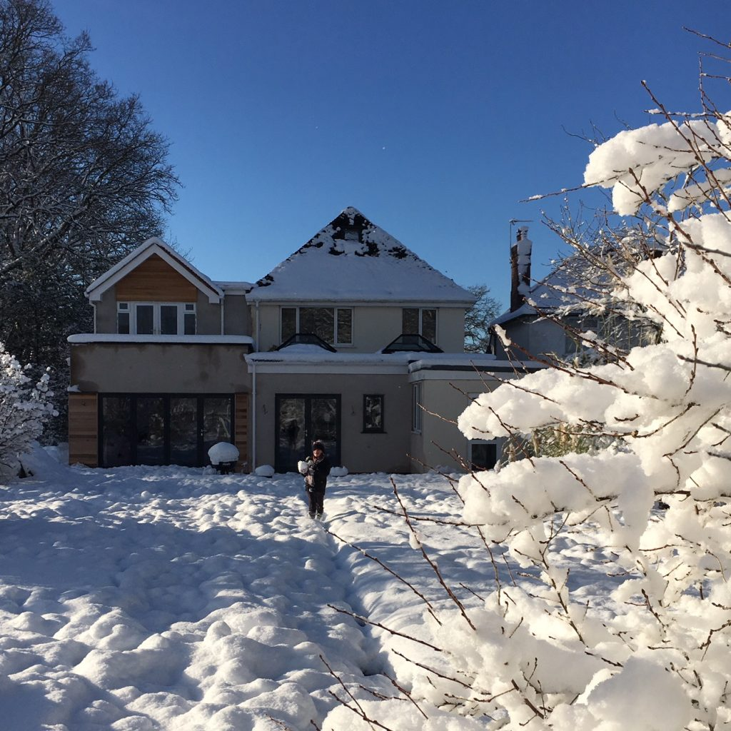 Snowy Solihull house renovation