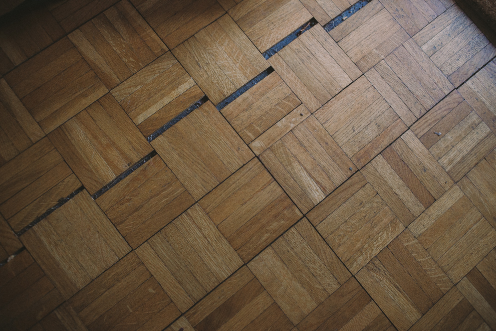 Damaged parquet flooring