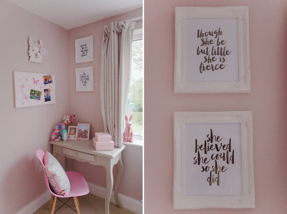 Girls pink bedroom decor